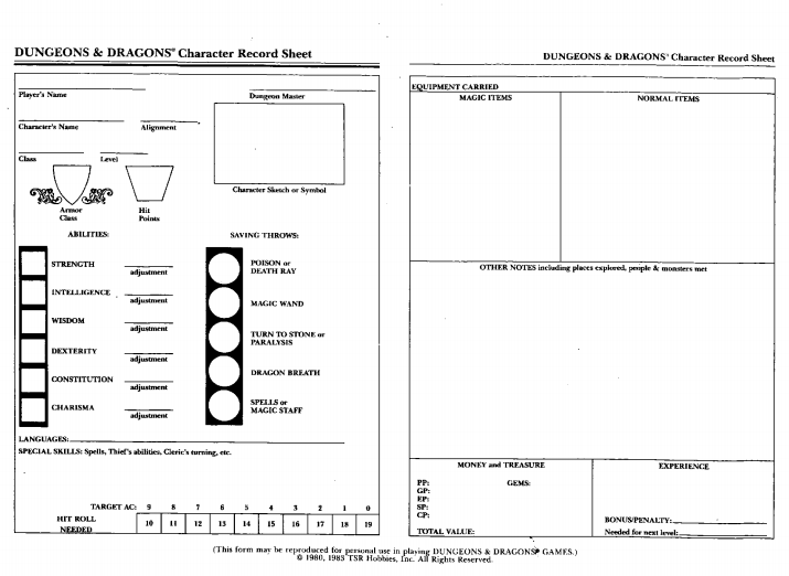 basic dungeons and dragons character sheet d&d - building character (sheets)